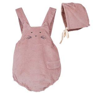 Newborn Baby Corduroy Overall Cat Romper Pink